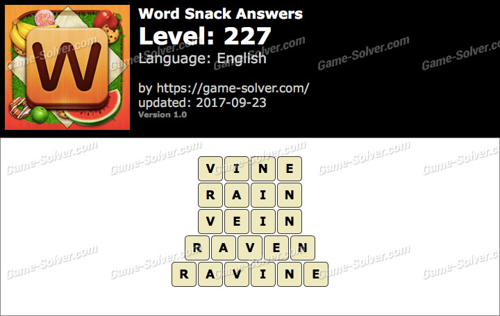 Word Snack Level 227 Answers