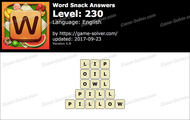 Word Snack Level 230 Answers