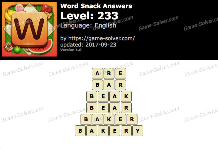Word Snack Level 233 Answers