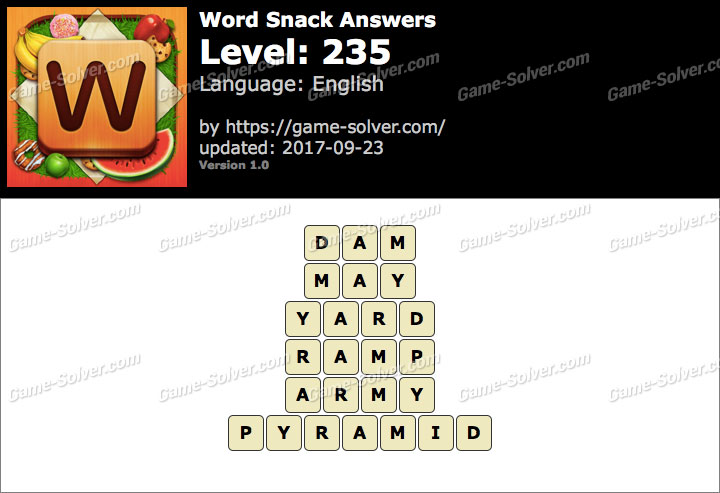 Word Snack Level 235 Answers