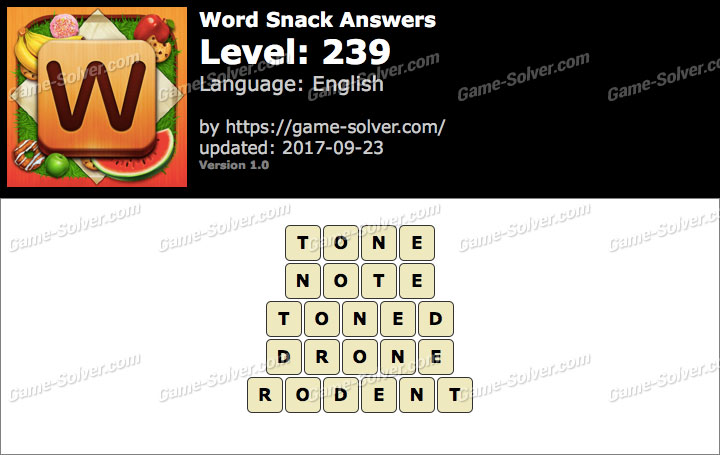 Word Snack Level 239 Answers