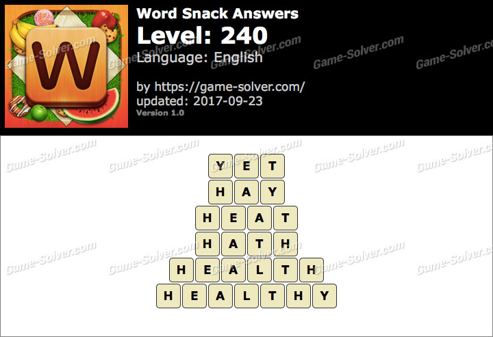 Word Snack Level 240 Answers