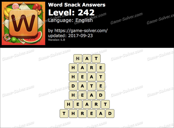 Word Snack Level 242 Answers