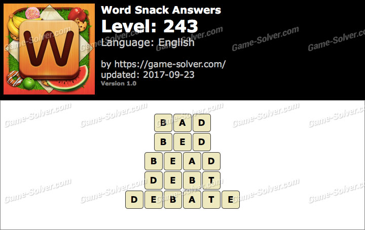 Word Snack Level 243 Answers