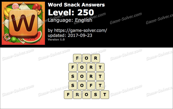 Word Snack Level 250 Answers