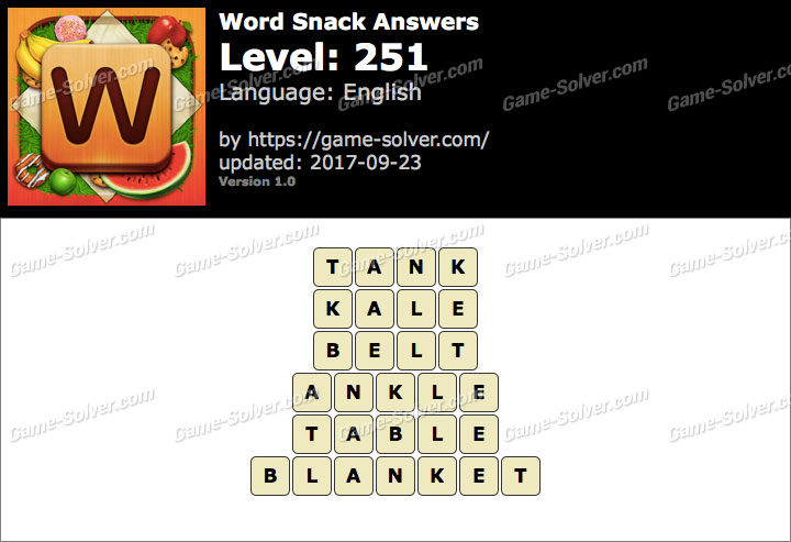 Word Snack Level 251 Answers