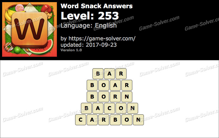 Word Snack Level 253 Answers