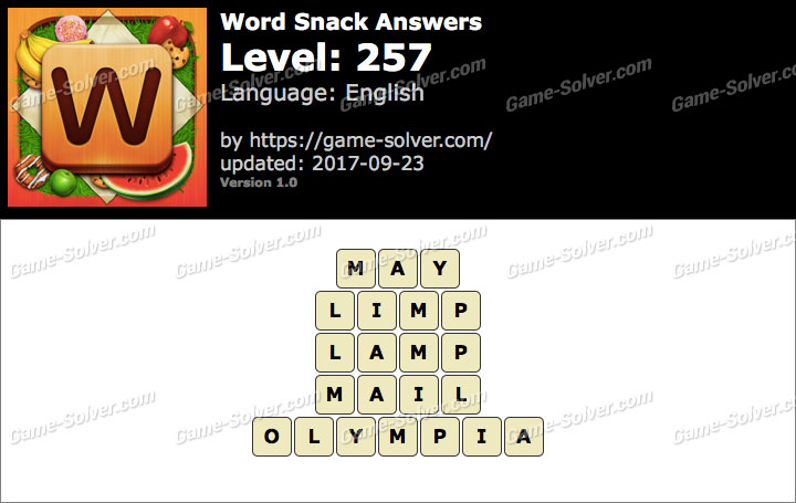 Word Snack Level 257 Answers