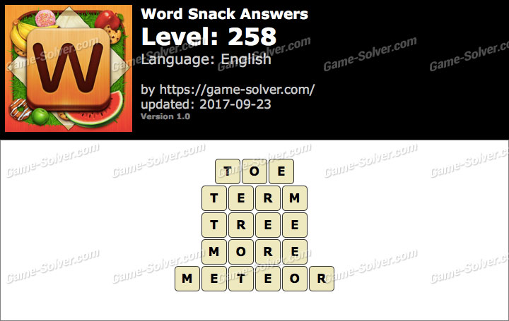 Word Snack Level 258 Answers