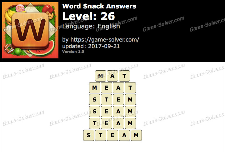 Word Snack Level 26 Answers
