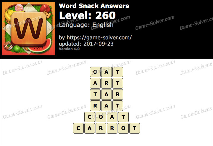 Word Snack Level 260 Answers