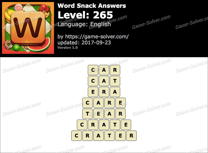 Word Snack Level 265 Answers