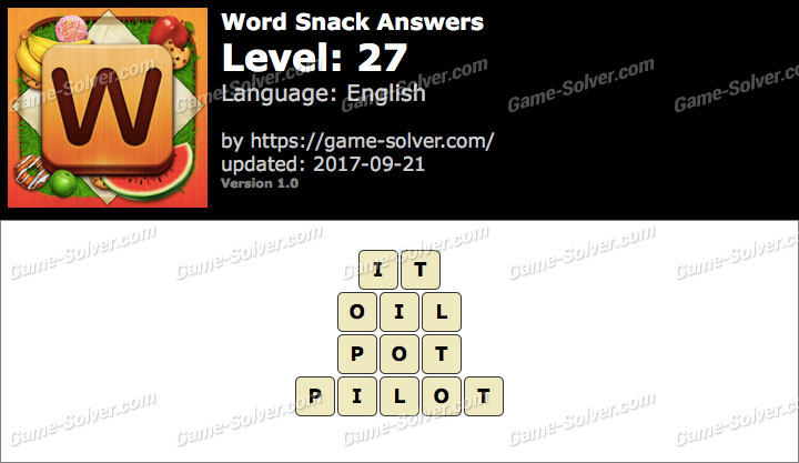 Word Snack Level 27 Answers
