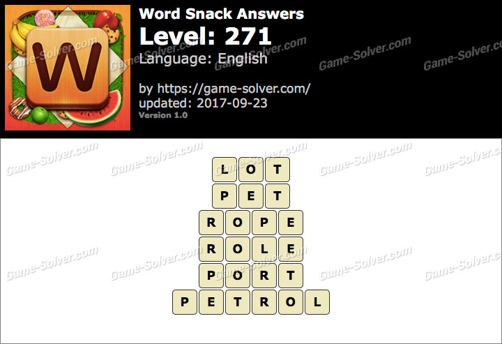 Word Snack Level 271 Answers