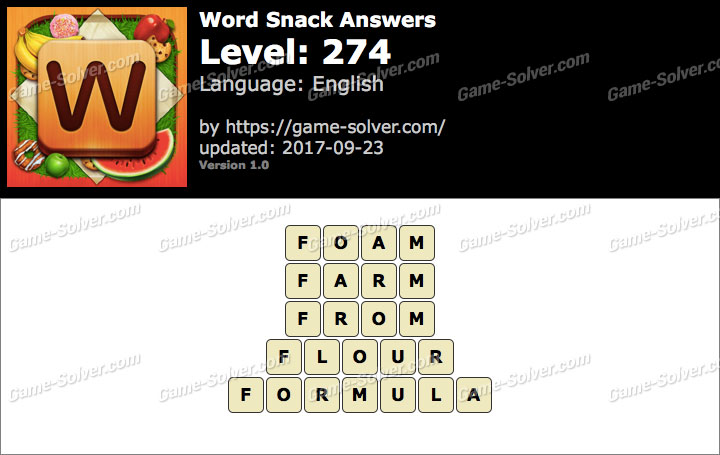 Word Snack Level 274 Answers