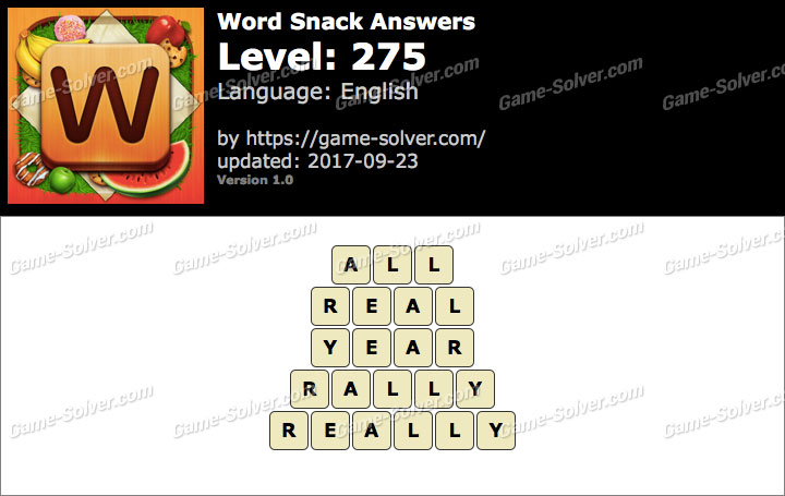 Word Snack Level 275 Answers