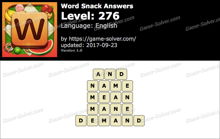 Word Snack Level 276 Answers
