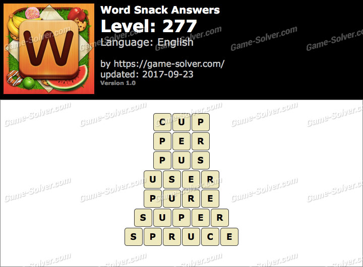 Word Snack Level 277 Answers
