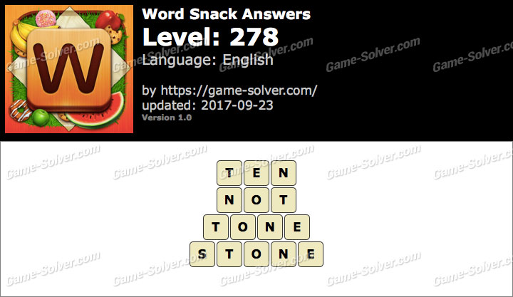 Word Snack Level 278 Answers