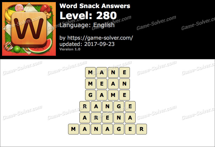 Word Snack Level 280 Answers