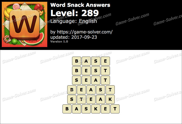 Word Snack Level 289 Answers