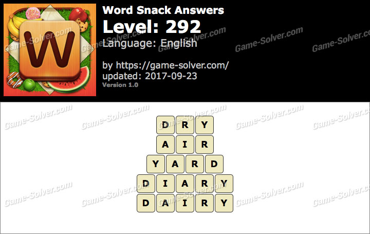 Word Snack Level 292 Answers