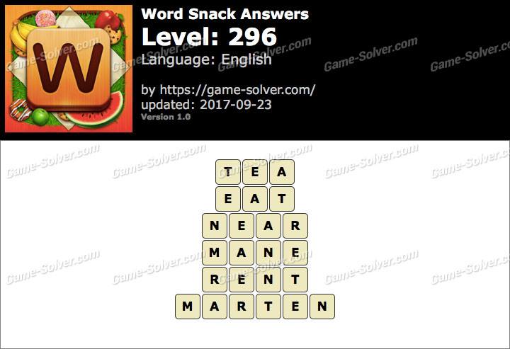Word Snack Level 296 Answers