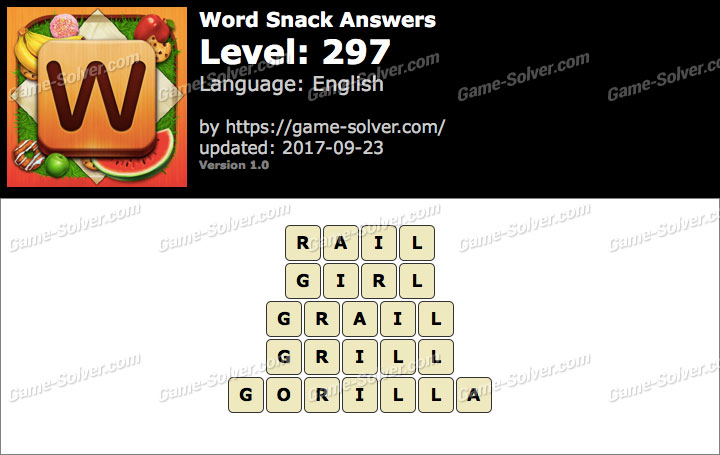 Word Snack Level 297 Answers