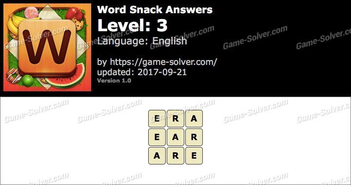 Word Snack Level 3 Answers