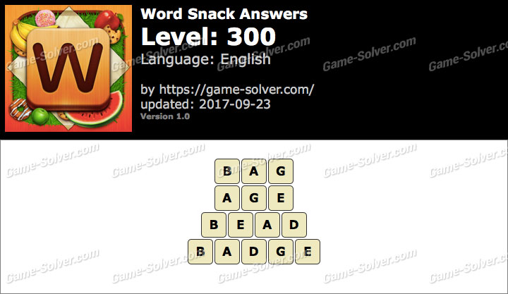 Word Snack Level 300 Answers