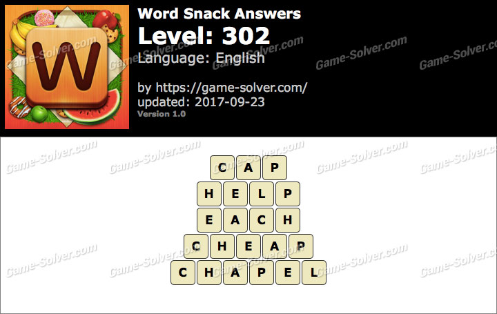 Word Snack Level 302 Answers