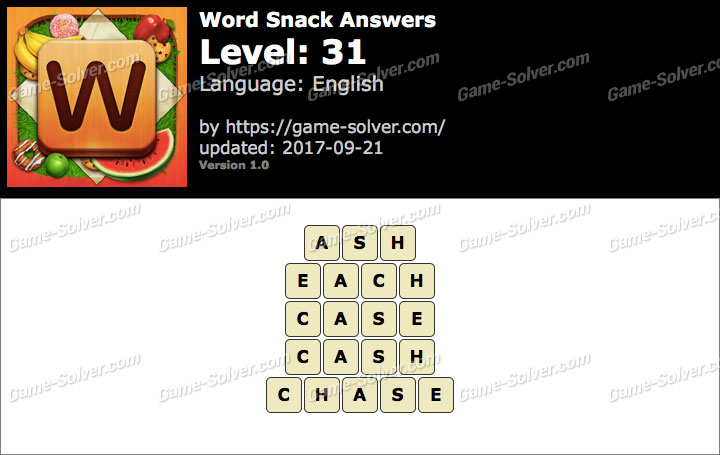 Word Snack Level 31 Answers