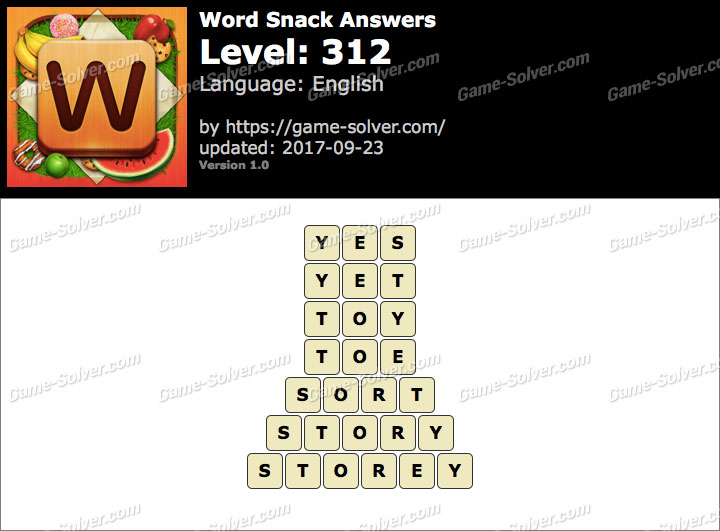 Word Snack Level 312 Answers