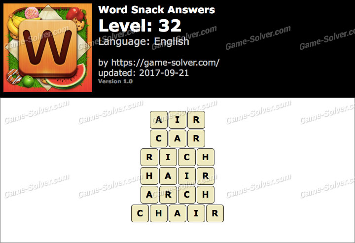 Word Snack Level 32 Answers