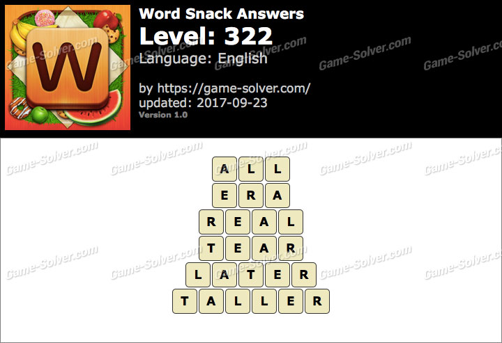 Word Snack Level 322 Answers