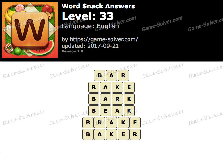 Word Snack Level 33 Answers