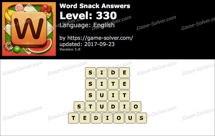 Word Snack Level 330 Answers