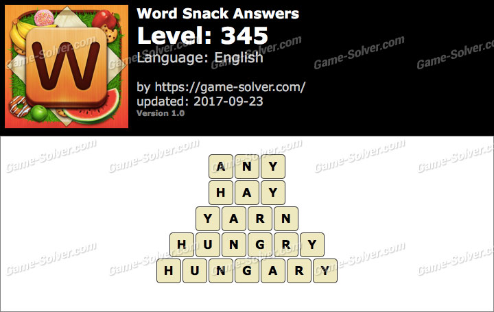 Word Snack Level 345 Answers