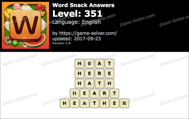 Word Snack Level 351 Answers