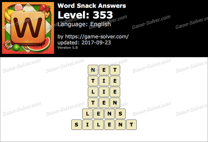 Word Snack Level 353 Answers