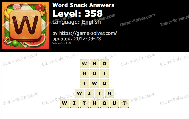Word Snack Level 358 Answers