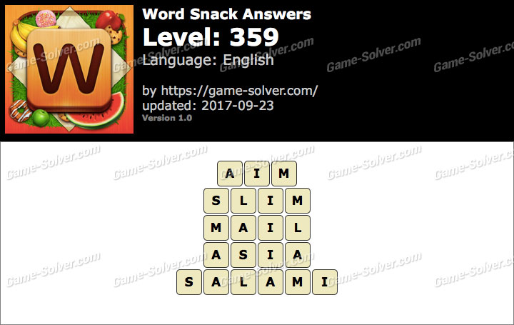Word Snack Level 359 Answers