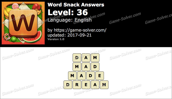 Word Snack Level 36 Answers