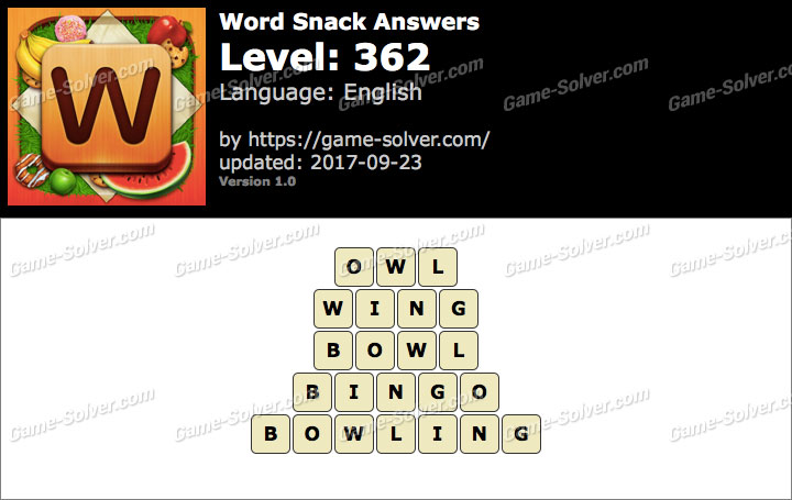 Word Snack Level 362 Answers