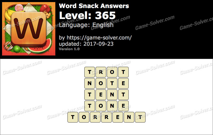 Word Snack Level 365 Answers