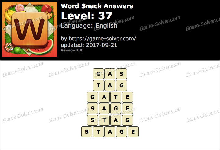 Word Snack Level 37 Answers