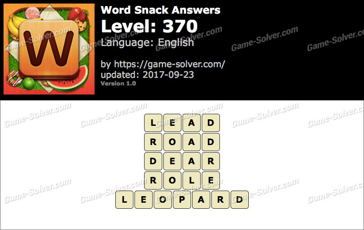 Word Snack Level 370 Answers