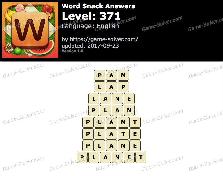 Word Snack Level 371 Answers