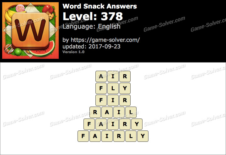 Word Snack Level 378 Answers