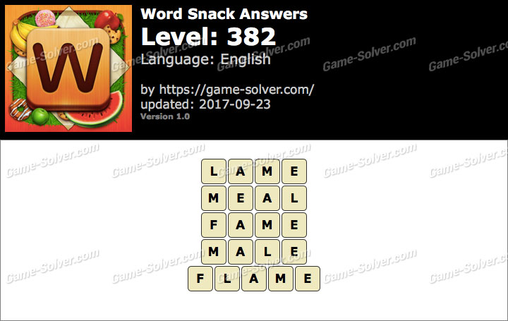 Word Snack Level 382 Answers